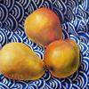 3 Pears on Blue & White Fabric 24 x 30 Oil on Canvas